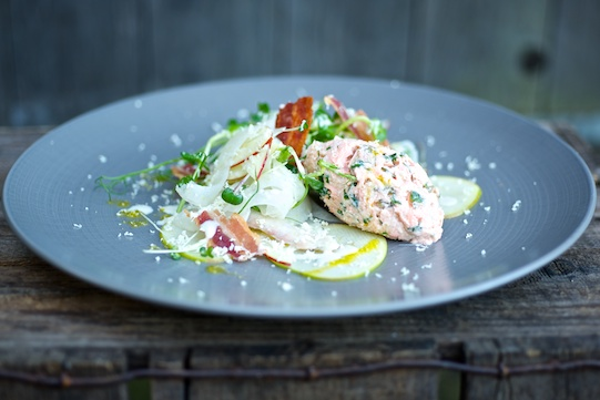 Poached Salmon Rillettes with Smoked Eel and Cox's Apple Salad - The British Larder