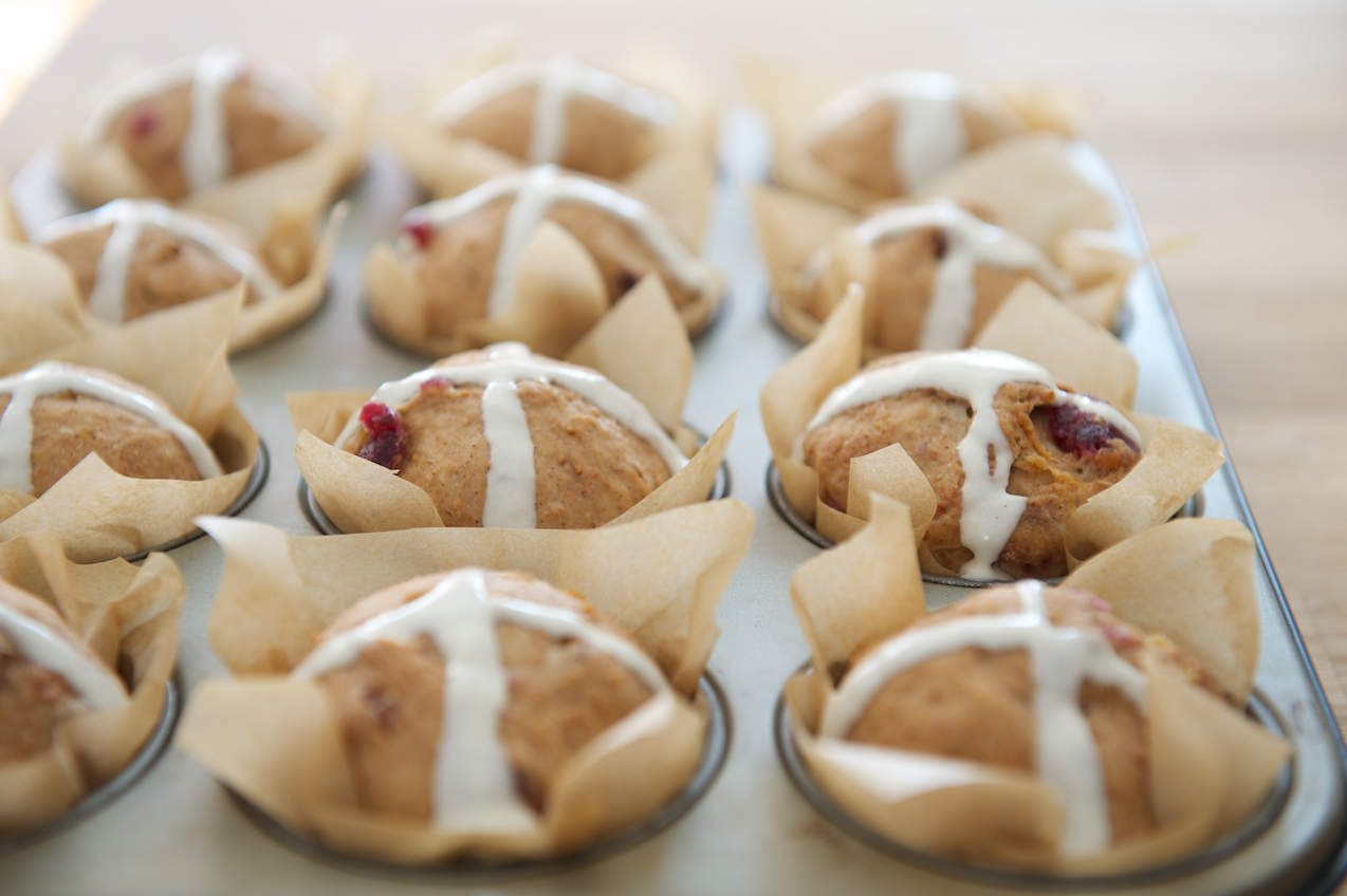photo of Fig and Sour Cherry Hot Cross Muffins